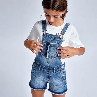 Mayoral Krótkie ogrodniczki jeansowe dla dziewczynki 6621-005